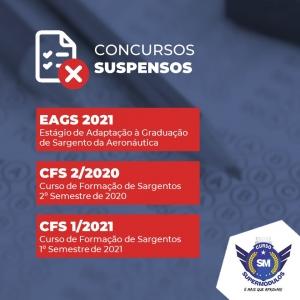 MILITAR | EAGS e CFS tem concursos suspensos devido ao coronavírus