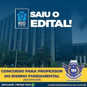 Saiu o Edital! Professor de Ensino Fundamental (Anos Iniciais 2019) - Prefeitura do Rio